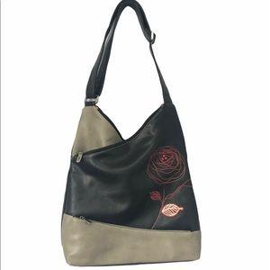 ESPE Vegan Leather Black Gray Rose Messenger Bag